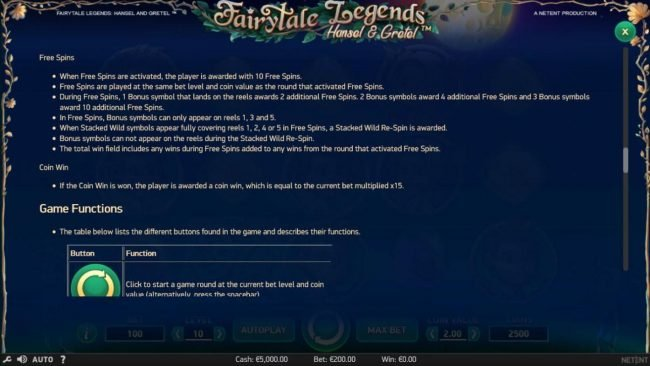 Spin Hill featuring the Video Slots Fairytale Legends Hansel & Gretel with a maximum payout of $8,000