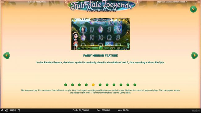 Winstar featuring the Video Slots Fairytale Legends Mirror Mirror with a maximum payout of $182,200