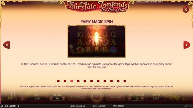 Spinrider featuring the Video Slots Fairytale Legends Red Riding Hood with a maximum payout of 4000