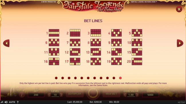 Fairytale Legends Red Riding Hood :: Winning Bet Lines Diagrams 1-20