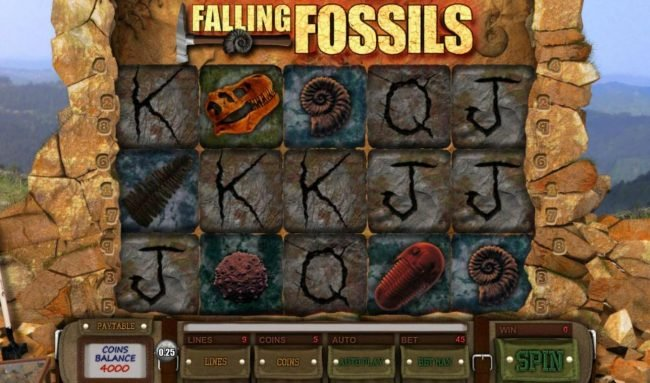 Falling Fossils :: Main game board featuring five reels and 9 paylines with a $12,500 max payout.
