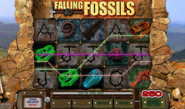 Falling Fossils :: Multiple winning paylines