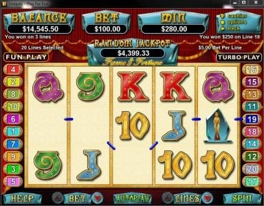Grande Vegas featuring the Video Slots Fame and Fortune with a maximum payout of $250,000