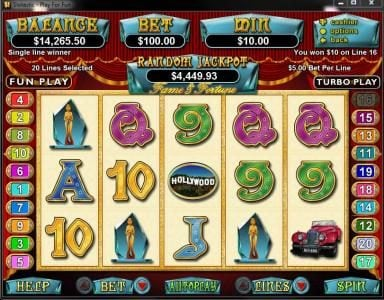 All Star Slots featuring the Video Slots Fame and Fortune with a maximum payout of $250,000
