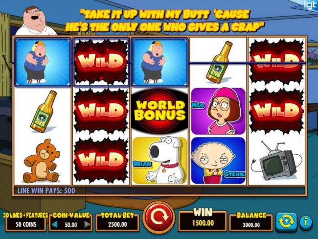 Betfair featuring the Video Slots Family Guy with a maximum payout of $250,000