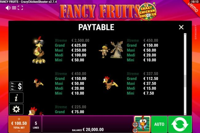 Fancy Fruits Crazy Chicken Shooter :: Paytable