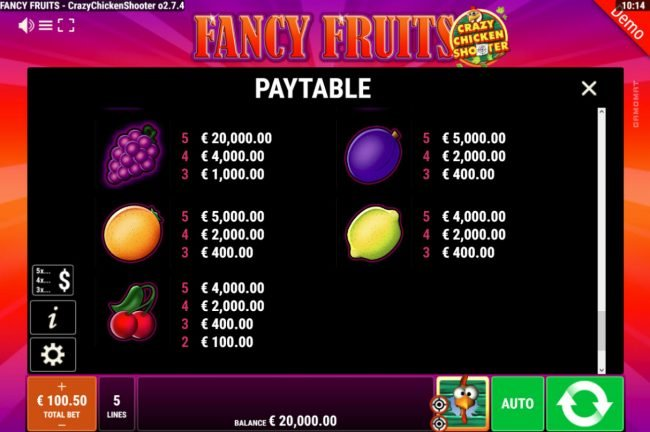 Fancy Fruits Crazy Chicken Shooter :: Low Value Symbols