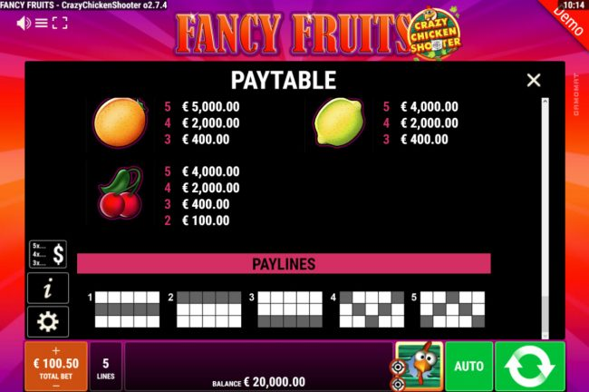 Fancy Fruits Crazy Chicken Shooter :: Paylines 1-5