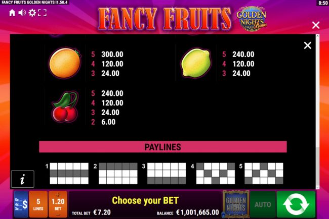 Play slots at Scatters: Scatters featuring the Video Slots Fancy Fruits Golden Nights with a maximum payout of Jackpot