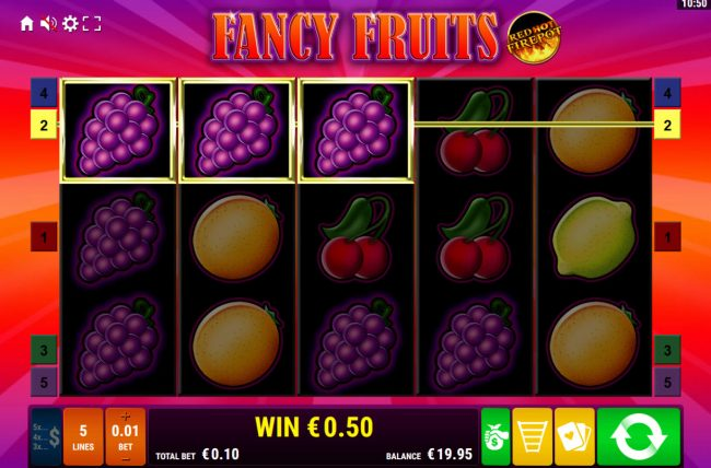 Play slots at Scatters: Scatters featuring the Video Slots Fancy Fruits Red Hot Firepot with a maximum payout of Jackpot