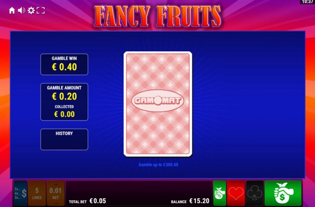 Fancy Fruits :: Card Gamble Feature Game Board