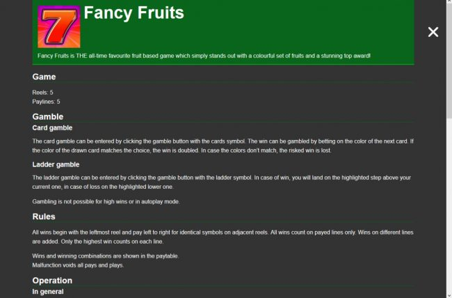 Fancy Fruits :: General Game Rules