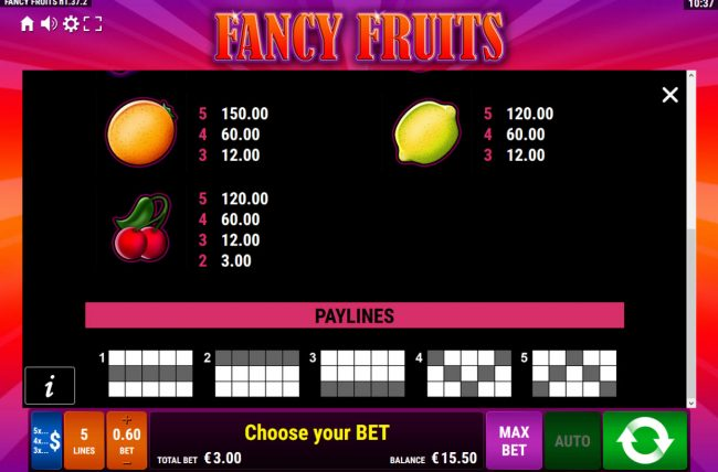 Fancy Fruits :: paylines 1-5