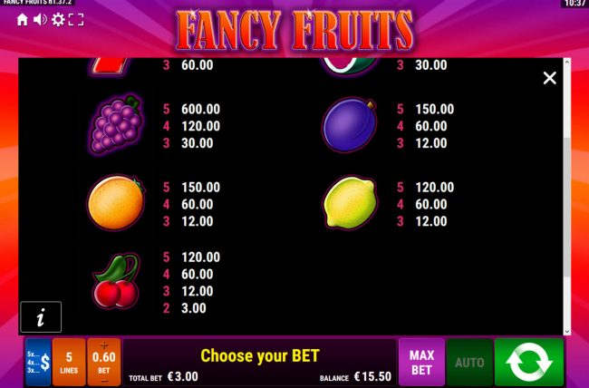 Fancy Fruits :: Low Value Symbols
