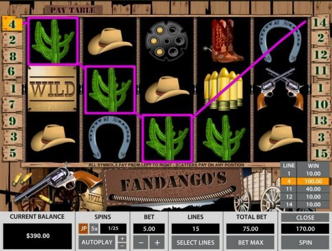 Vive Mon Casino featuring the Video Slots Fandango's 15 Lines with a maximum payout of $50,000