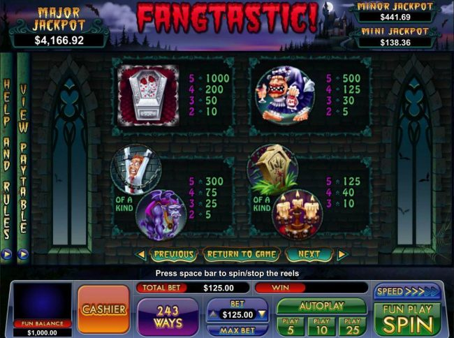BuzzLuck featuring the Video Slots Fangtastic! with a maximum payout of Jackpot