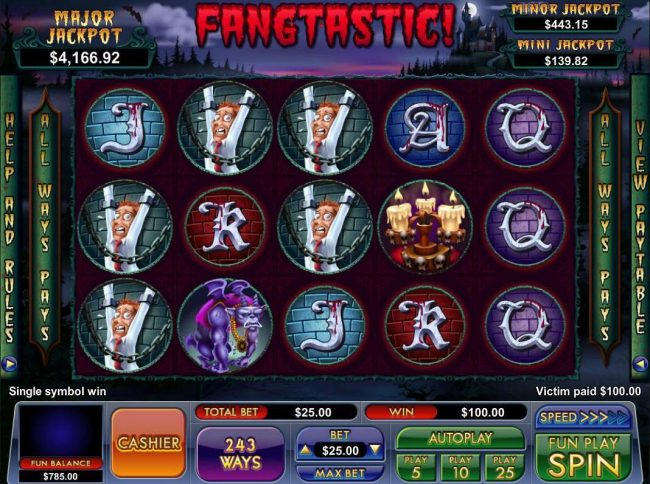 Play slots at Slot Madness: Slot Madness featuring the Video Slots Fangtastic! with a maximum payout of Jackpot