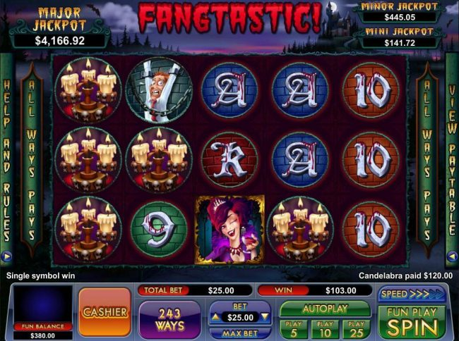 Slot Madness featuring the Video Slots Fangtastic! with a maximum payout of Jackpot
