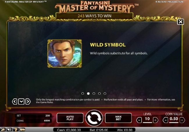 Wild Wild Bet featuring the Video Slots Fantasini Master of Mystery with a maximum payout of $5,000