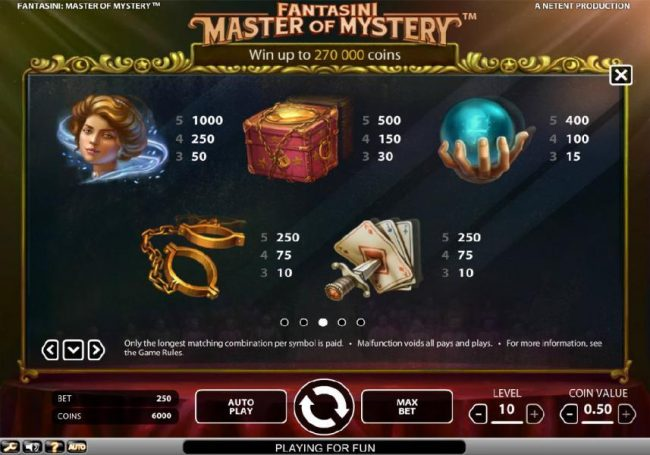 Powerspins featuring the Video Slots Fantasini Master of Mystery with a maximum payout of $5,000