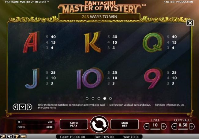 Trada featuring the Video Slots Fantasini Master of Mystery with a maximum payout of $5,000