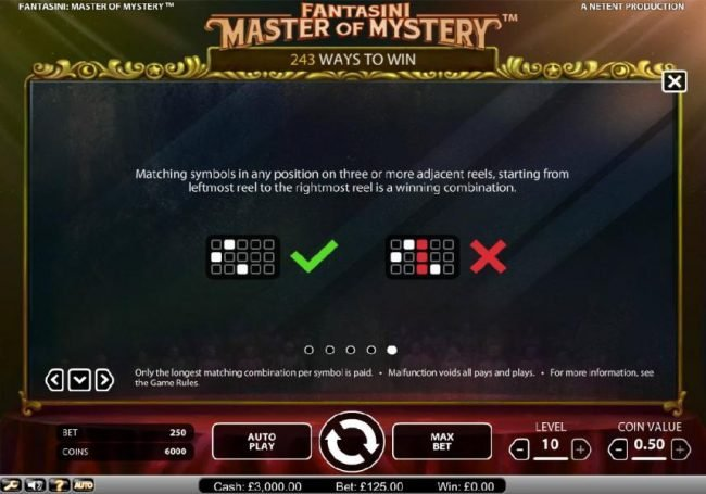 Dragonara featuring the Video Slots Fantasini Master of Mystery with a maximum payout of $5,000