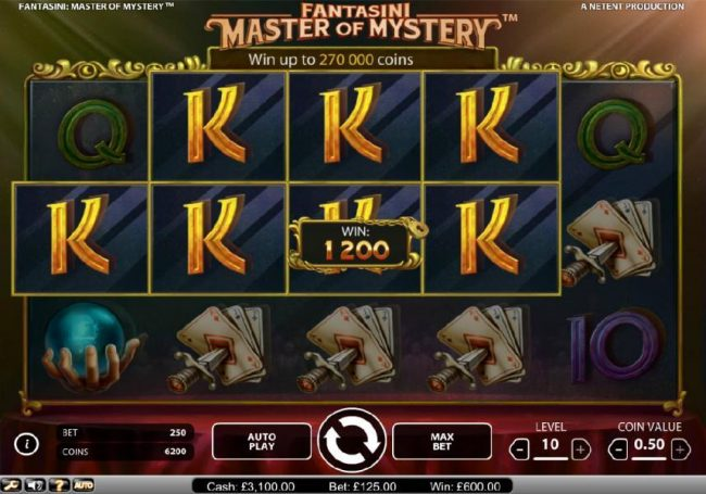NordiCasino featuring the Video Slots Fantasini Master of Mystery with a maximum payout of $5,000