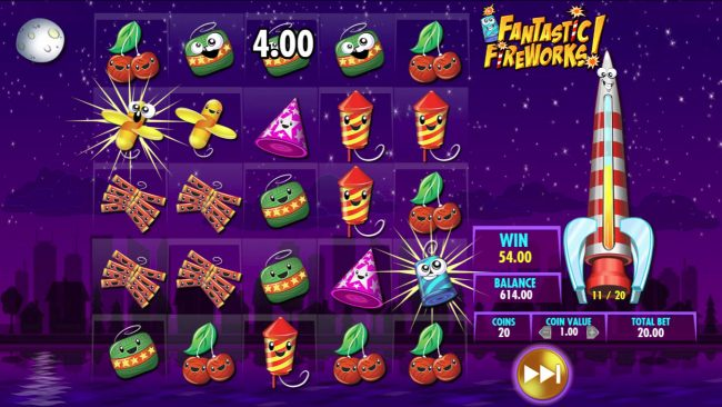 Gala featuring the Video Slots Fantastic Fireworks! with a maximum payout of $25,000,000