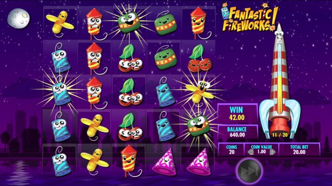 Jackpot Mobile featuring the Video Slots Fantastic Fireworks! with a maximum payout of $25,000,000