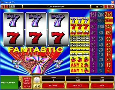 Monaco Aces featuring the Video Slots Fantastic 7s with a maximum payout of $75,000