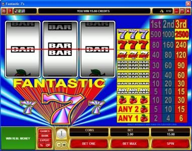 Golden Reef featuring the Video Slots Fantastic 7s with a maximum payout of $75,000
