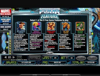 Play slots at Shadowbet: Shadowbet featuring the video-Slots Fantastic Four with a maximum payout of 5,000x