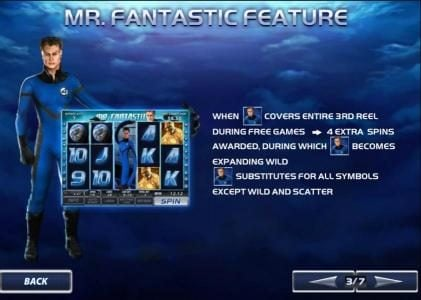 mr. fantastic feature awards 4 extra games when covering reel 3