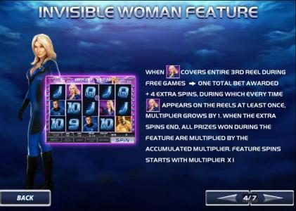 invisible woman feature awards 4 extra spins when covering 3rd reel