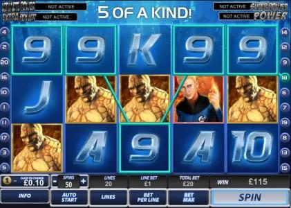here is an example of a 5 of a kind winning combination