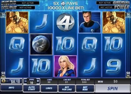 Fantastic Four 50 Lines :: main game board featuring five reels and fifty paylines