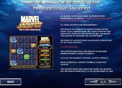 marvel multi-level mystery progressive jackpot