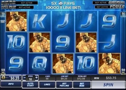 Fantastic Four 50 Lines :: $53.75 jackpot triggered by four of a kind