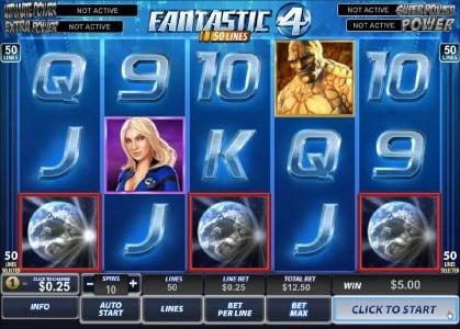 Slots Heaven featuring the Video Slots Fantastic Four 50 Lines with a maximum payout of $100,000