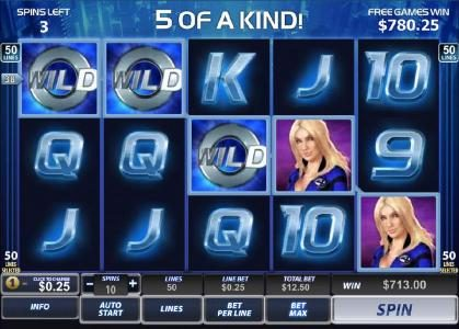 five of a kind triggers a $713 jackpot during free games feature