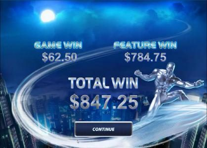 Fantastic Four 50 Lines :: free games feature pays out a $847 big win payout