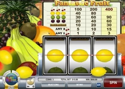 Slot Power featuring the Video Slots Fantastic Fruit with a maximum payout of $12,000