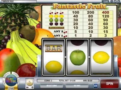 Bovada featuring the Video Slots Fantastic Fruit with a maximum payout of $12,000