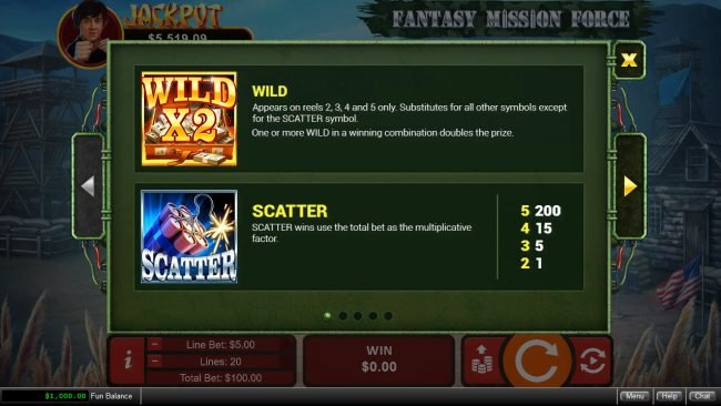 Fantasy Mission Force :: Wild and Scatter Symbol Rules