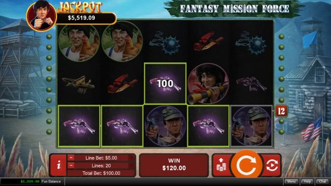 Club Player featuring the Video Slots Fantasy Mission Force with a maximum payout of $250,000
