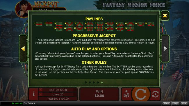 Play slots at Siver Oak: Siver Oak featuring the Video Slots Fantasy Mission Force with a maximum payout of $250,000
