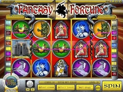 Play slots at Golden Lion: Golden Lion featuring the Video Slots Fantasy Fortune with a maximum payout of $12,500