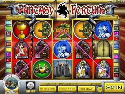 Mayan Fortune featuring the Video Slots Fantasy Fortune with a maximum payout of $12,500