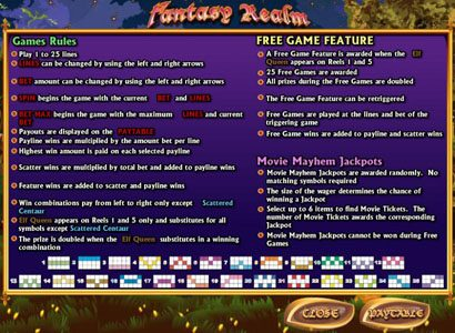 Casino Superlines featuring the video-Slots Fantasy Realm with a maximum payout of 3,000x
