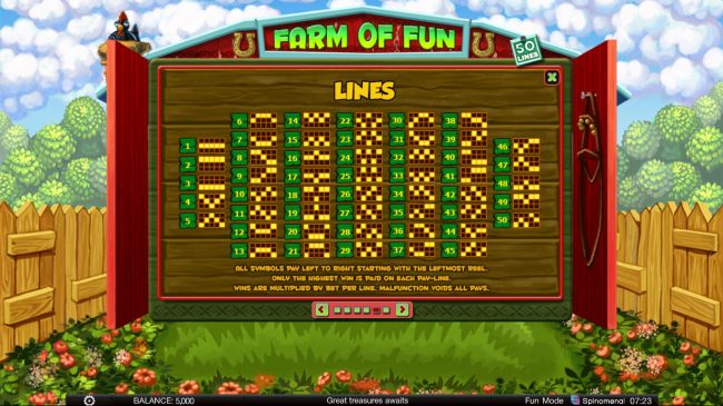 888 Tiger featuring the Video Slots Farm of Fun with a maximum payout of $8,000